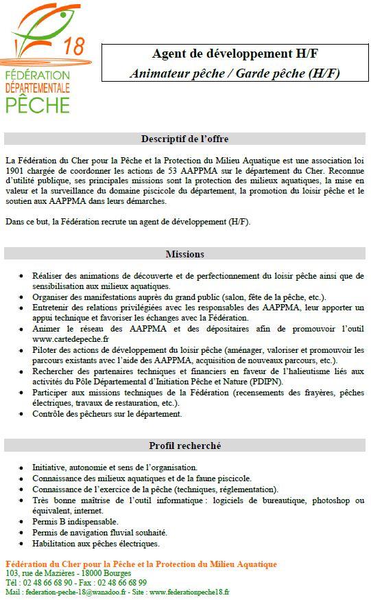 offre d'emploi Agent de développement fédération de pêche du cher 18