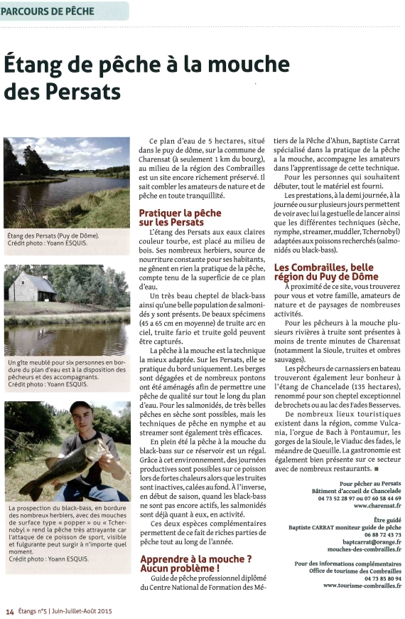 baptiste carrat moniteur guide de pêche a la mouche a l'étang des Persats