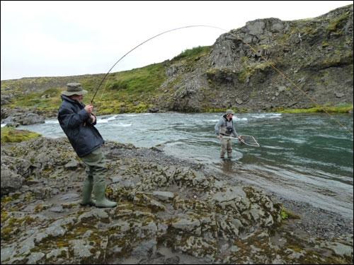Jean-Paul en pleine action avec un gros saumon qui finira par couper la ligne contre un rocher après une demi-heure d'un combat épique