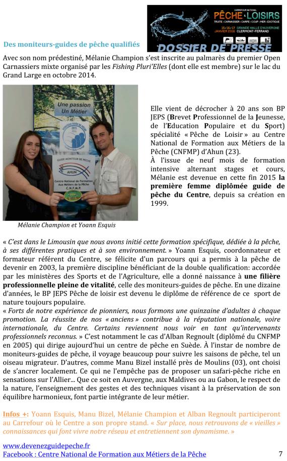 Carrefour National Pêche & Loisirs dossier de presse moniteur guide de pêche Yoann Esquis